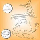 Logoathleten- und -tretmühlenvektorillustration Stockfotografie