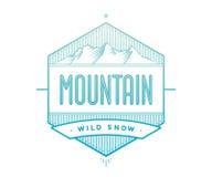 Logoausweis für kreative Projektplanung Beschriften Sie in Verbindung stehend mit Gebirgsthema - blauer Berg auf einem weißen Hin Stockfotos