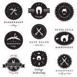 Logoausweisweinlese-Vektorsatz des Friseursalons (Friseursalon) Hippie und Retrostil Stockfotos