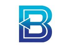 Logobeståndsdelar med pilen - alfabetbokstav B Arkivbilder