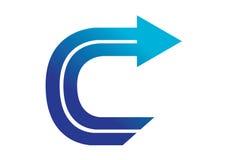 Logobeståndsdelar med pilen - alfabetbokstav C Royaltyfri Foto