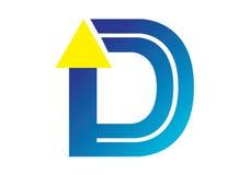 Logobeståndsdelar med pilen - alfabetbokstav D Vektor Illustrationer