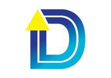 Logobeståndsdelar med pilen - alfabetbokstav D Royaltyfria Bilder