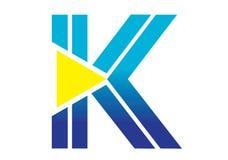 Logobeståndsdelar med pilen - alfabetbokstav K Arkivbilder