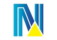 Logobeståndsdelar med pilen - alfabetbokstav N Arkivbilder