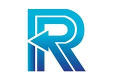 Logobeståndsdelar med pilen - alfabetbokstav R Arkivfoto