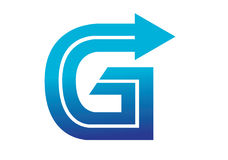 Logobeståndsdelar med pilen - alfabetbokstavsG Arkivbild