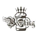 Logobierkrüge mit Krone und Aufschrift ` Beerking-` Lizenzfreies Stockfoto