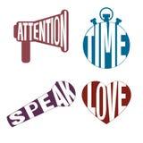 Logobuchstabe-Artikone eingestellt - Aufmerksamkeit, Zeit, spricht, liebt Lizenzfreie Stockbilder