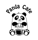 Logocoffee shop Panda Cafe royaltyfri illustrationer