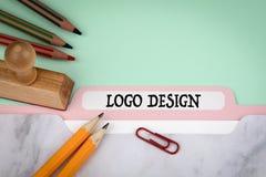 Logodesign, affär och marknadsföringsbegrepp arkivfoto