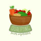 Logodesign des vollen Gemüsekorbes mit Beschriftung Auch im corel abgehobenen Betrag stock abbildung