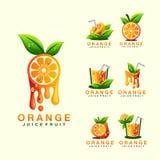 Logodesign för orange fruktsaft som är klar för bruk royaltyfri illustrationer