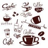 Logodesign für Kaffeecafé kauft auf Vektorillustration lizenzfreie stockbilder