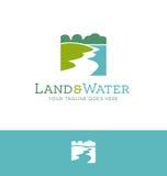 Logodesign für Land und Wasser bezog sich Geschäft Lizenzfreies Stockbild
