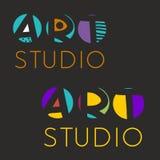 Logodesignmall för konststudion, galleri, skola av konsterna Idérik konstlogouppsättning också vektor för coreldrawillustration royaltyfri illustrationer