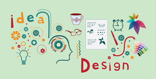 Logodesignprozess Lizenzfreie Stockbilder