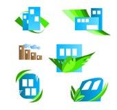 Logoelemente des abstrakten Hauses u. der Immobilien Stockbild