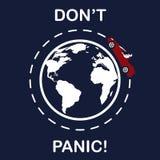 Logoen av bilen över planeten, slogan gör panikslagen inte Royaltyfri Foto