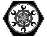 Logoen av bultarna och skiftnycklarna Arkivbilder