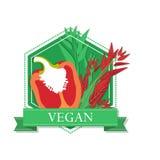 Logoen av den röda söta pepparen för organisk mat Arkivfoton