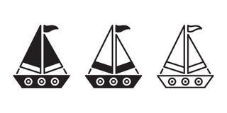 Logoen för symbolen för fartygvektorskeppet piratkopierar klotter för nautisk maritim illustration för symbol för roder för ankar royaltyfri illustrationer