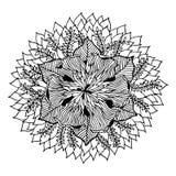 Logoen för symbolet för den Chakra mandalasymbolen, blommar det blom- bladet, vektorhandteckning Arkivfoton