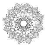 Logoen för symbolet för den Chakra mandalasymbolen, blommar det blom- bladet, vektorhandteckning Royaltyfri Foto
