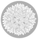 Logoen för symbolet för den Chakra mandalasymbolen, blommar det blom- bladet, vektorhandteckning Royaltyfria Foton