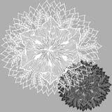 Logoen för symbolet för den Chakra mandalasymbolen, blommar det blom- bladet, vektorhandteckning Royaltyfri Fotografi