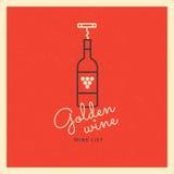 Logoen med en flaska av vin och en korkskruv på en röd bakgrund Logomall för att brännmärka design Royaltyfri Bild