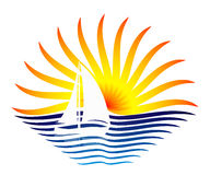 Logoen med segelbåten och solen Arkivbilder