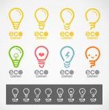 Logoen och symbolet planlägger ljus & ECO-begrepp Royaltyfri Bild