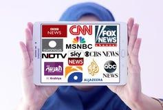 Logoer av bästa berömda tvnyhetskanaler och nätverk Royaltyfri Foto