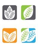 Logoer av den gröna symbolen för vektor för beståndsdel för bladekologinatur Arkivfoto