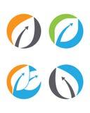 Logoer av den gröna symbolen för vektor för beståndsdel för bladekologinatur Fotografering för Bildbyråer