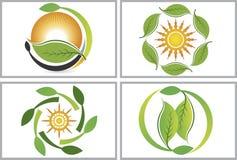 Logoer för Eco bladsamling vektor illustrationer