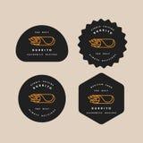 Logoer för mallar för fastställd design för vektor och emblem - mexikansk burrito Logoer i moderiktig linjär stil som isoleras på vektor illustrationer