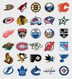 Logoer för NHL-lag Arkivbild