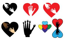Logoer - händer och hjärtor Royaltyfria Foton