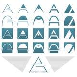 Logoer och symbolsuppsättning med bokstav A Royaltyfri Fotografi