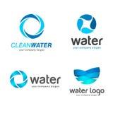 logoer ställde in vektorn Tecken för rengörande rör och kloaksystem, vattenfilter clean vatten royaltyfri illustrationer