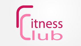 Logofitness-club im Rosa mit den Wörtern 'Fitness-Club ' lizenzfreie abbildung