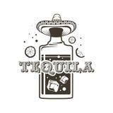 Logoflaskor av tequilaen, den sköt raksträckan och en mexicansk hatt Royaltyfri Fotografi