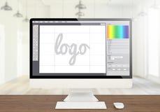 Logografikdesign-Software creen Computer stockbild