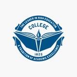 Logohögskola Akademi universitet, skolaemblem royaltyfri illustrationer
