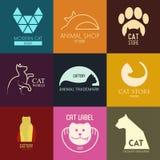 Logoinspiration för shoppar, företag som annonserar med katten Royaltyfri Fotografi