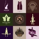 Logoinspiration für Shops, Firmen, annoncierend mit Wein stock abbildung