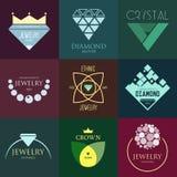 Logoinspiration med juvlar och diamanter, för shoppar, företag eller annan affär eller advertizingen Arkivfoton