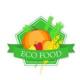Logokürbis, -pfeffer und -weizen mit dem Aufschrift ` Eco-Lebensmittel ` Lizenzfreie Stockbilder